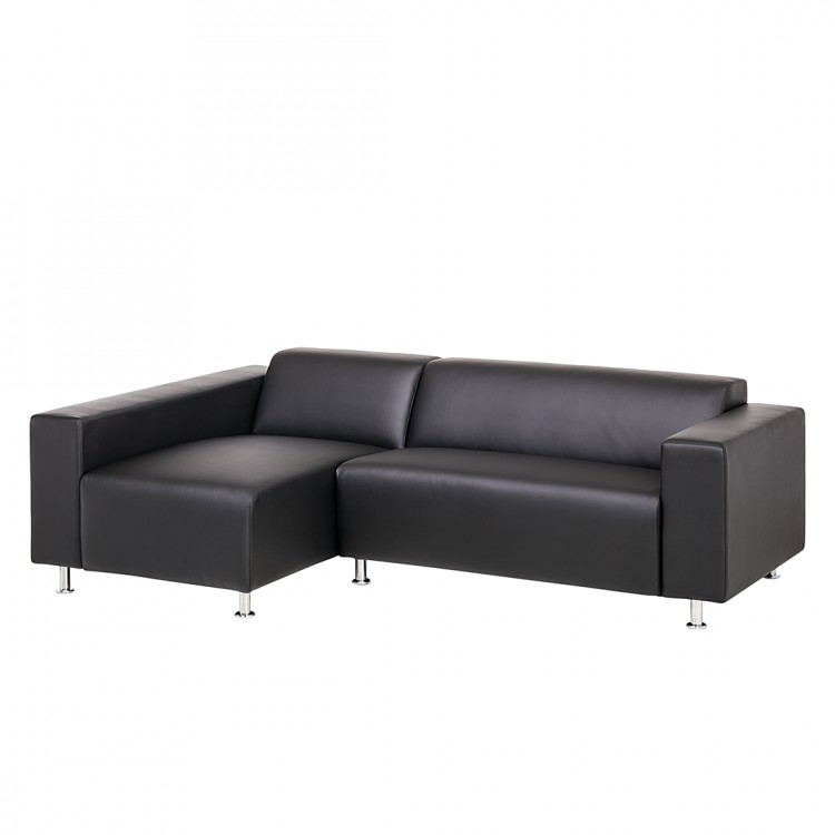 ecksofa nizza kunstleder schwarz home24. Black Bedroom Furniture Sets. Home Design Ideas