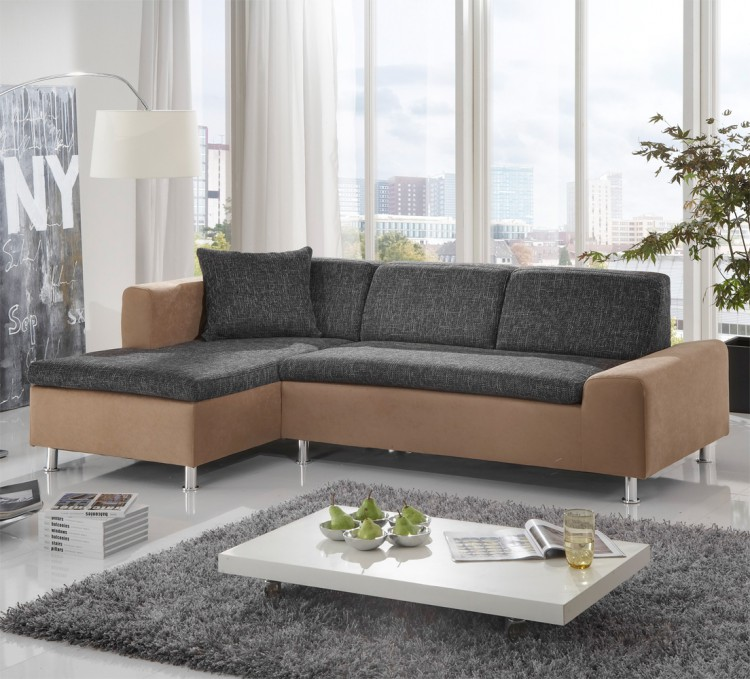 ecksofa novara microfaser strukturstoff home24. Black Bedroom Furniture Sets. Home Design Ideas