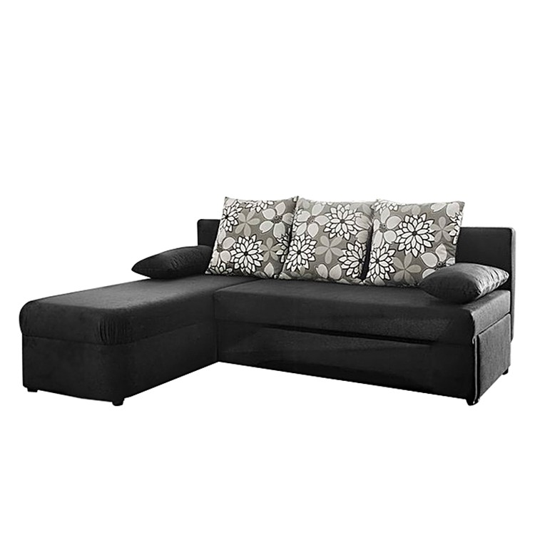 ecksofa schlafsofa stoff schwarz schlafcouch eckcouch sofa couch ottomane neu ebay. Black Bedroom Furniture Sets. Home Design Ideas