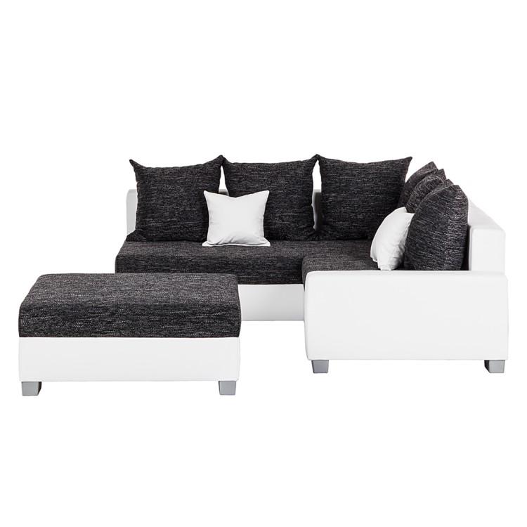 ecksofa venus mit hocker kunstleder wei webstoff. Black Bedroom Furniture Sets. Home Design Ideas