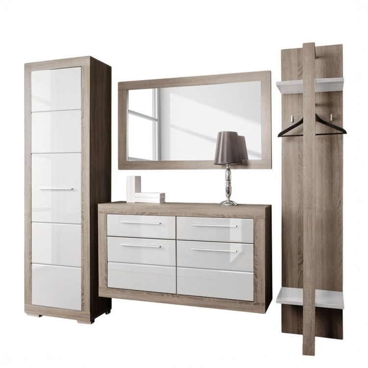 flurm bel set gregoriano 4 teilig wei hochglanz eiche dekor home24. Black Bedroom Furniture Sets. Home Design Ideas