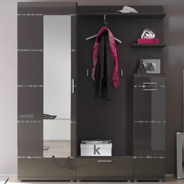 garderobenm bel set zeremonia 5 teilig anthrazit. Black Bedroom Furniture Sets. Home Design Ideas