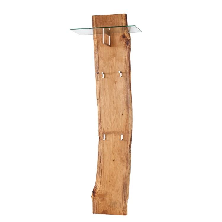 Garderobenpaneel woodkid mit glasablage eiche massiv for Garderobenpaneel holz