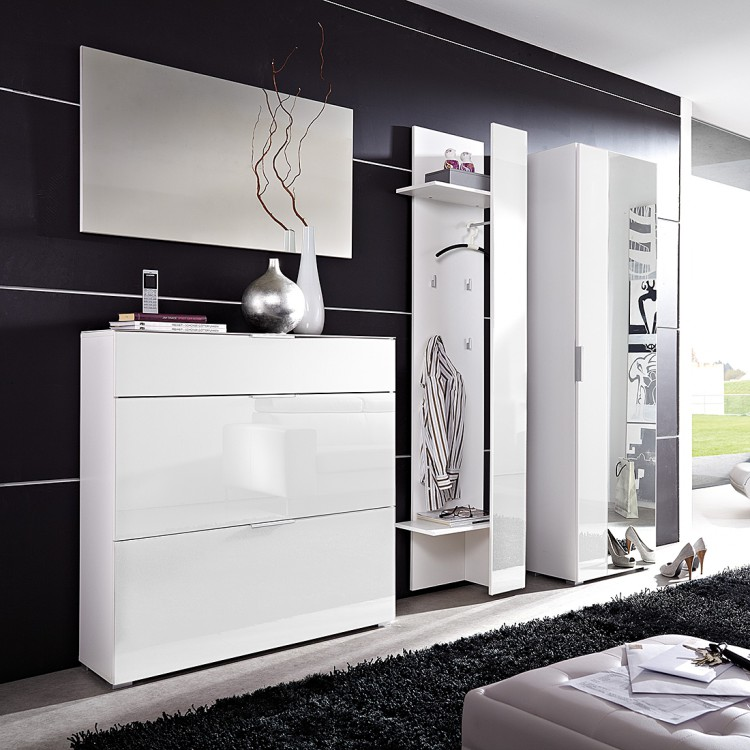 garderobenset primus 4 teilig glas wei home24. Black Bedroom Furniture Sets. Home Design Ideas
