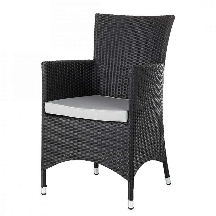 gartenstuhl 2er set polyrattan schwarz hellgrau terrasse. Black Bedroom Furniture Sets. Home Design Ideas