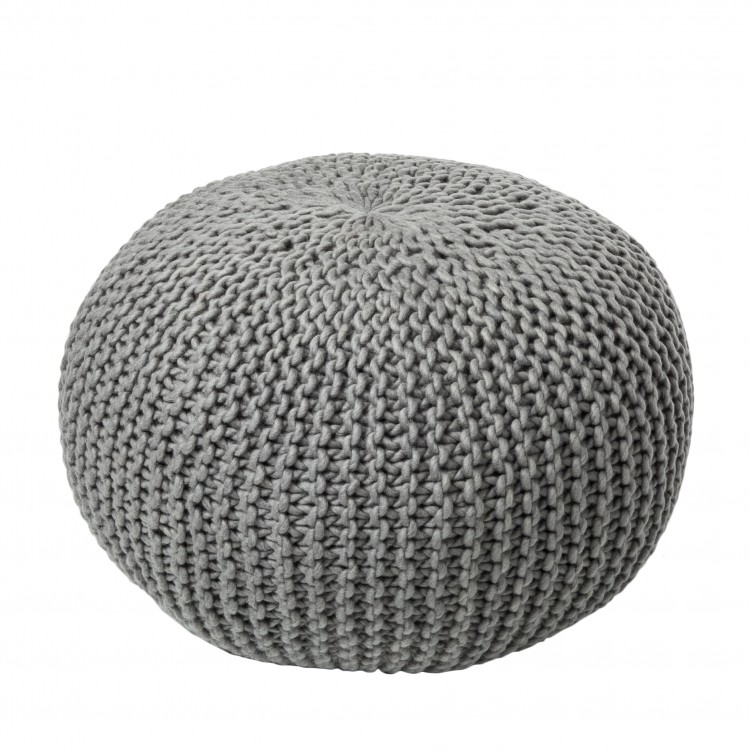 hocker pouf wolle gestrickt grau textil sitzsack. Black Bedroom Furniture Sets. Home Design Ideas