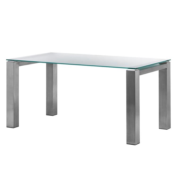 glastisch palma satiniertes glas edelstahl geb rstet home24. Black Bedroom Furniture Sets. Home Design Ideas