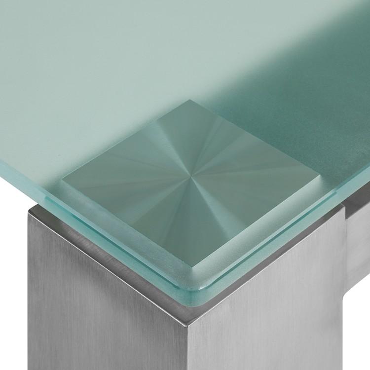 Glastisch Palma - Satiniertes Glas/Edelstahl, gebürstet ...
