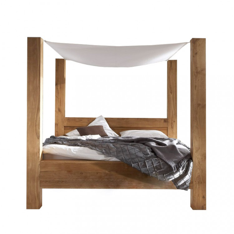 himmelbett furios eiche massivholz stoff wei home24. Black Bedroom Furniture Sets. Home Design Ideas