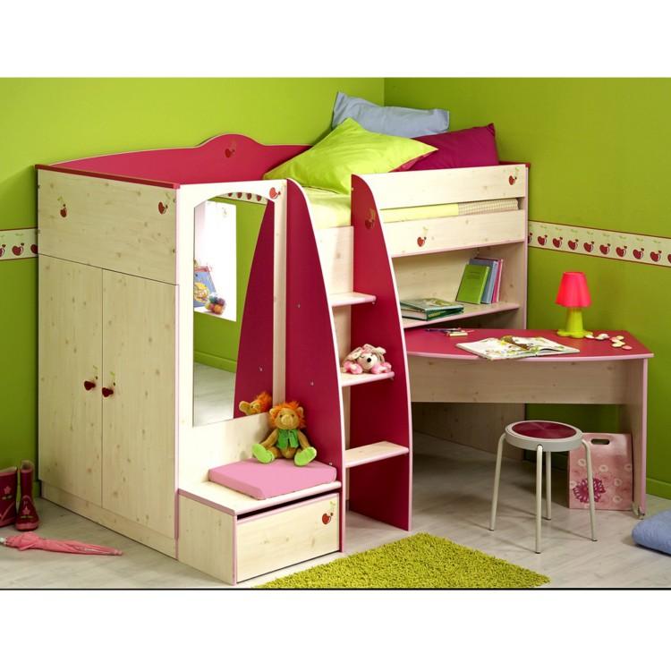hochbett sweet mit schreibtisch leiter spiegel kaufen home24. Black Bedroom Furniture Sets. Home Design Ideas