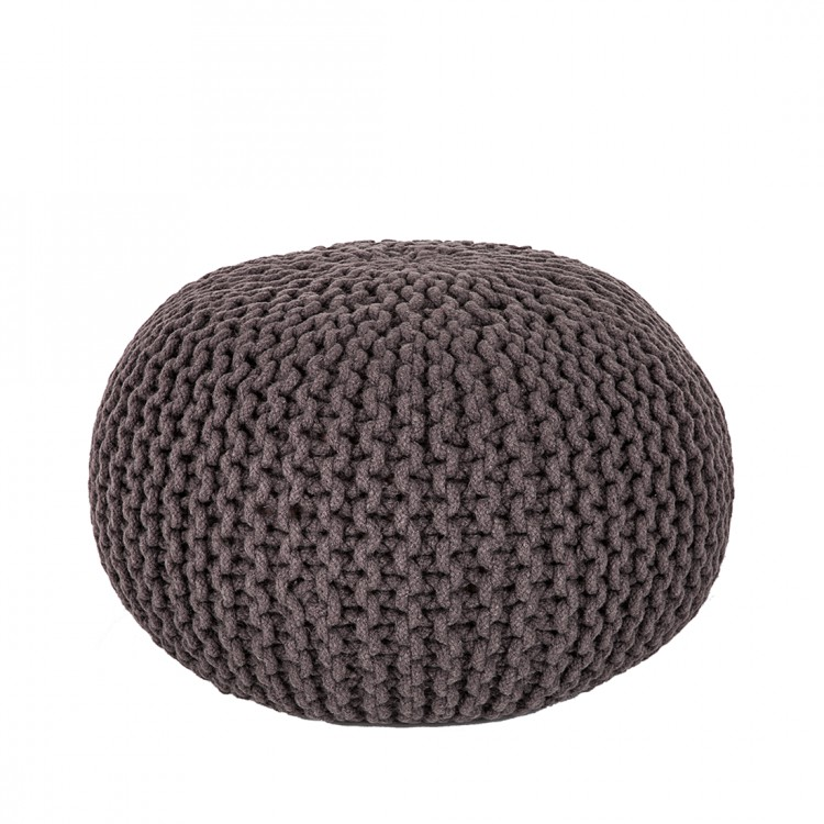 hocker pouf wolle gestrickt taupe sitzsack sitzhocker fu hocker sitzkissen neu ebay. Black Bedroom Furniture Sets. Home Design Ideas
