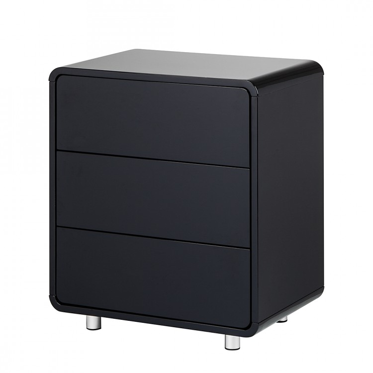 kommode 3 schubladen schwarz hochglanz retro schlafzimmer. Black Bedroom Furniture Sets. Home Design Ideas