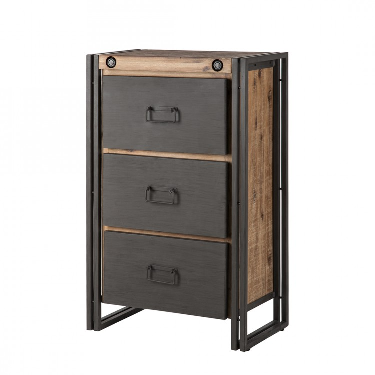 commode manchester bois m tal. Black Bedroom Furniture Sets. Home Design Ideas