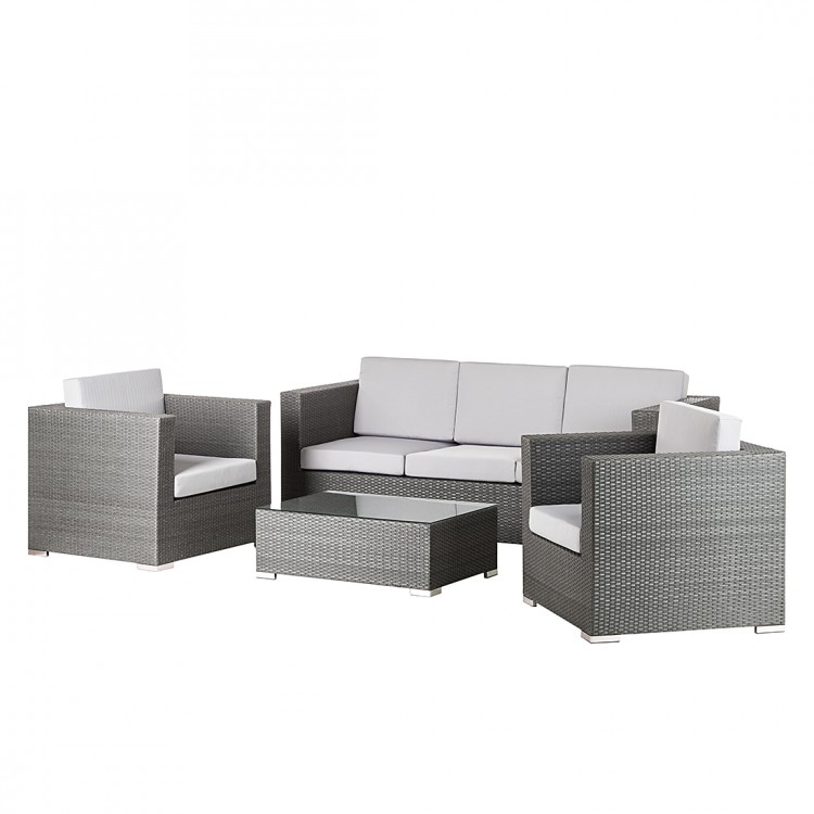 gartenm bel set 4 tlg polyrattan grau sessel terrasse garten tisch stuhl neu ebay. Black Bedroom Furniture Sets. Home Design Ideas
