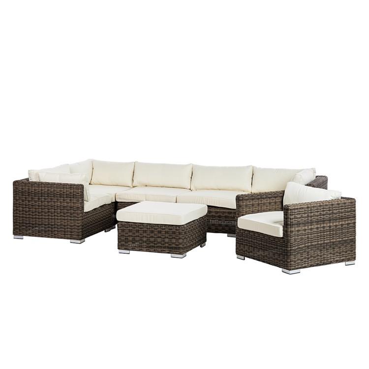 lounge set royal comfort 7 teilig polyrattan textil home24. Black Bedroom Furniture Sets. Home Design Ideas