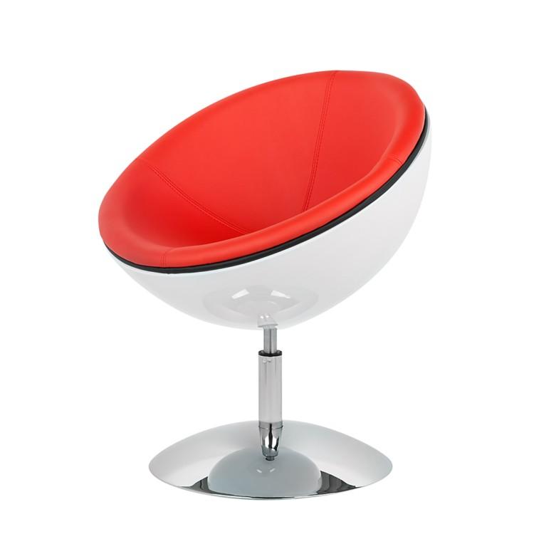 Loungestoel acapulco rood wit kunstleer metaal - Tafel rots lounge bobois ...