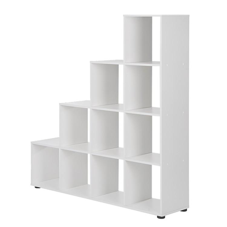 Raumteiler Treppe Weiß Hochglanz Bücherregal Standregal Bücher ... Wohnzimmer Regal Weis