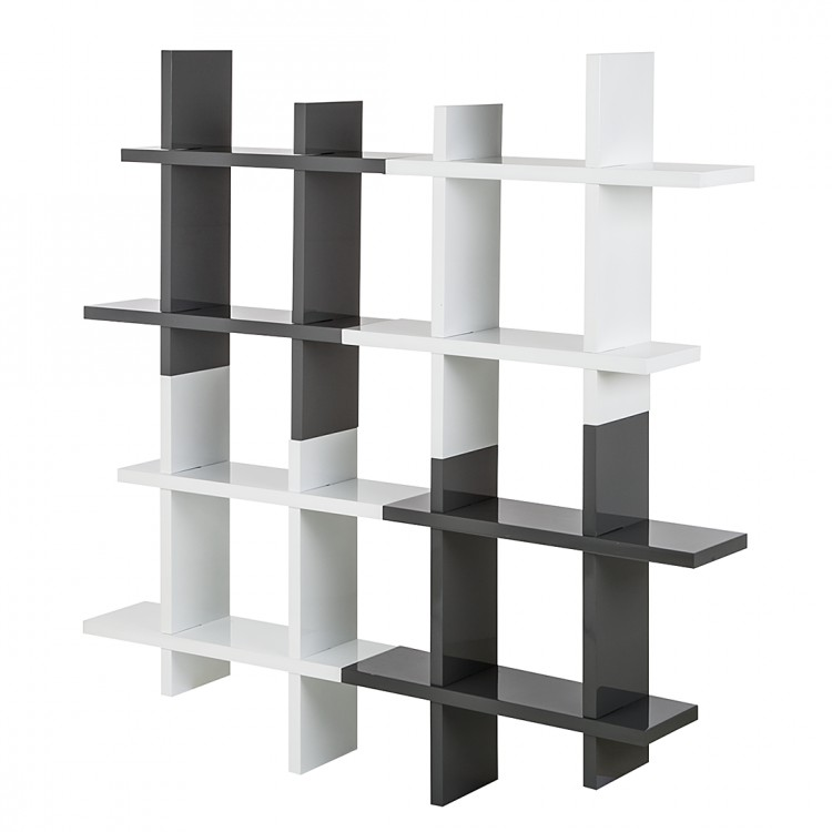 neu wandregal grau wei hochglanz b cherregal. Black Bedroom Furniture Sets. Home Design Ideas
