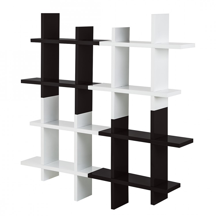 wandregal schwarz wei hochglanz b cherregal h ngeregal b cher regal neu. Black Bedroom Furniture Sets. Home Design Ideas