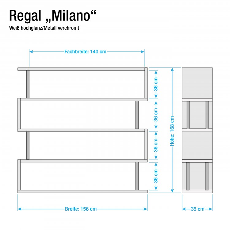 regal milano hochglanz wei home24. Black Bedroom Furniture Sets. Home Design Ideas