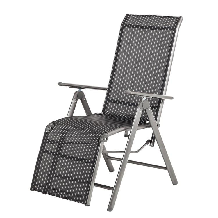 gartenliege relaxliege aluminium schwarz sonnenliege gartenstuhl balkonliege neu ebay. Black Bedroom Furniture Sets. Home Design Ideas