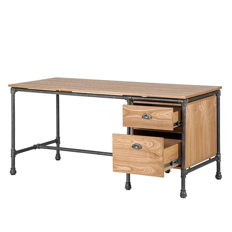 schreibtisch iron oak echtholzfurnier eiche home24. Black Bedroom Furniture Sets. Home Design Ideas