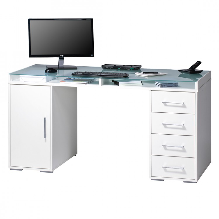 bureau pepino vi avec plateau en verre 2 caissons et rangements blanc. Black Bedroom Furniture Sets. Home Design Ideas