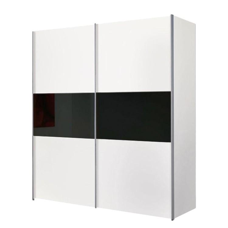 Armoire Portes Coulissantes Austin Blanc Verre Noir
