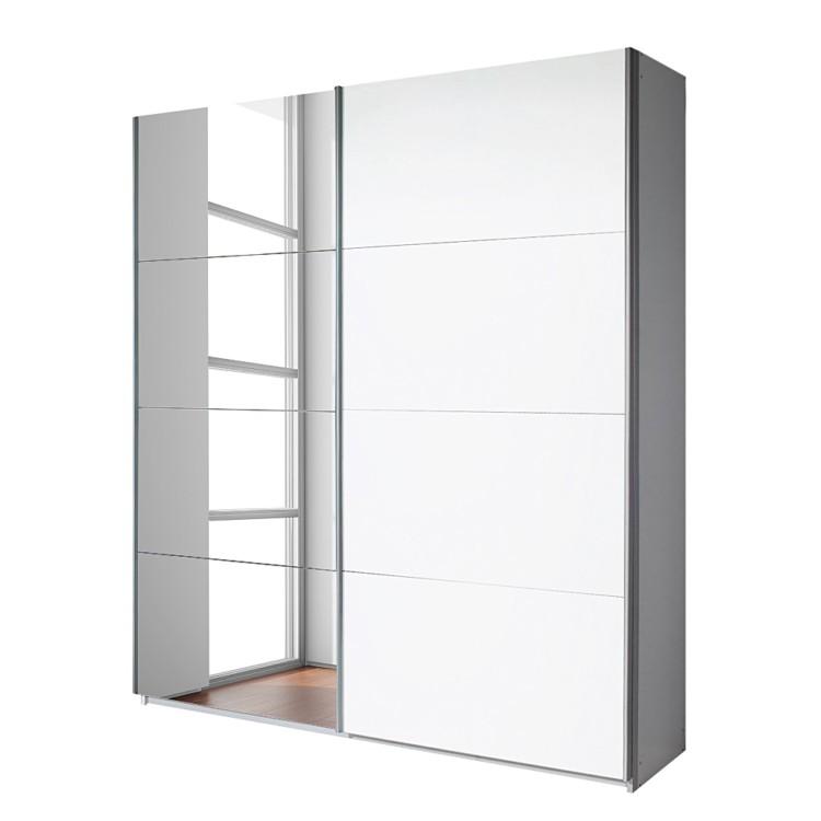 Armoire portes coulissantes quadra avec miroir blanc alpin - Armoire 3 portes avec miroir ...