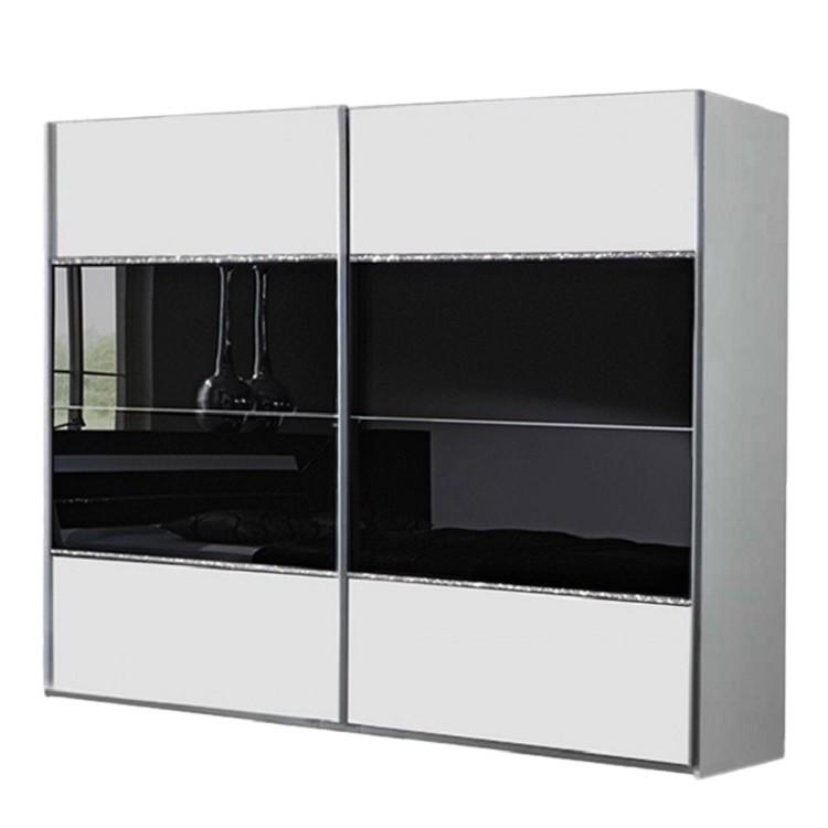Armoire portes coulissantes salem blanc verre noir - Armoire coulissante noir ...