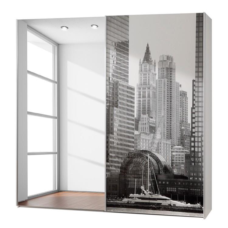 Schuifdeurkast vertigo spiegeldeur en zwart witte print van new york - Vertigo verlichting ...