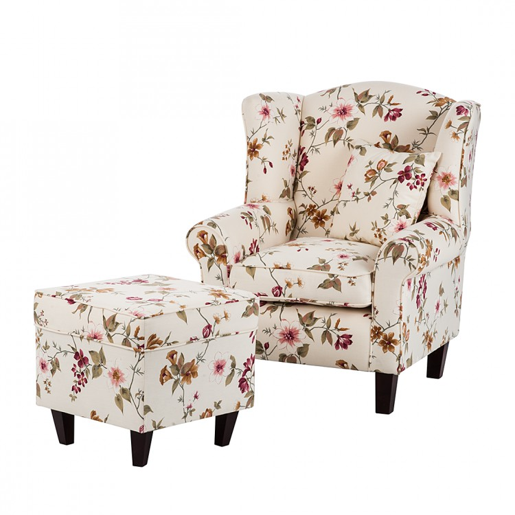 ohrensessel hocker webstoff beige mit blumen cocktailsessel club sessel neu ebay. Black Bedroom Furniture Sets. Home Design Ideas