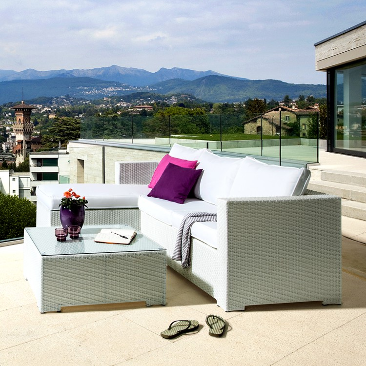 lounge sitzgruppe white comfort 3 teilig polyrattan. Black Bedroom Furniture Sets. Home Design Ideas