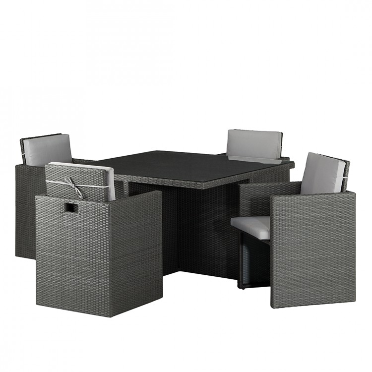 sitzgruppe paradise lounge 5 teilig polyrattan textil grau home24. Black Bedroom Furniture Sets. Home Design Ideas