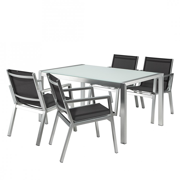 sitzgruppe aluminium schwarz glas essgruppe terrasse garten st hle tisch neu ebay. Black Bedroom Furniture Sets. Home Design Ideas
