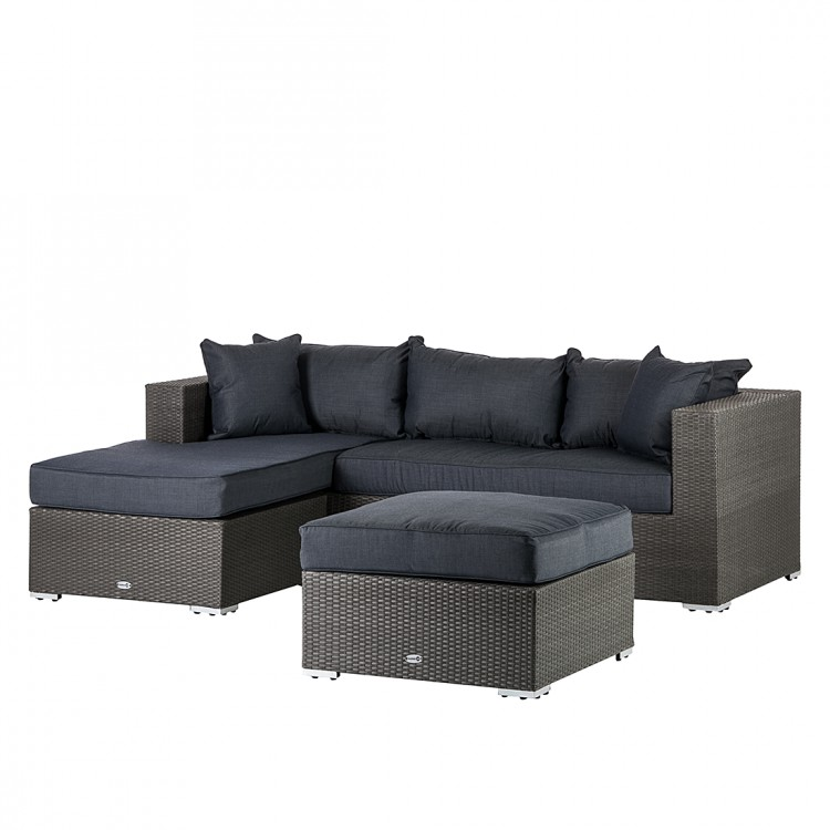 sitzgruppe set 3 teilig polyrattan grau sofa hocker terrasse garten couch neu ebay. Black Bedroom Furniture Sets. Home Design Ideas