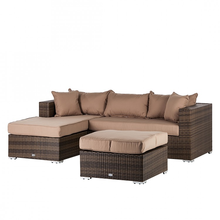 Sitzgruppe set 3 teilig polyrattan beige sofa hocker for Sofa terrasse