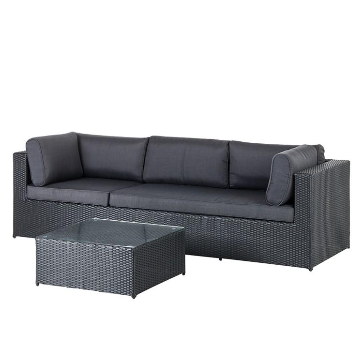 sofa 3 sitzer mit beistelltisch polyrattan schwarz garten terrasse balkon neu ebay. Black Bedroom Furniture Sets. Home Design Ideas