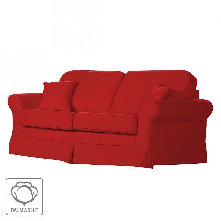 sofa louanne 2 sitzer baumwollstoff rot home24. Black Bedroom Furniture Sets. Home Design Ideas