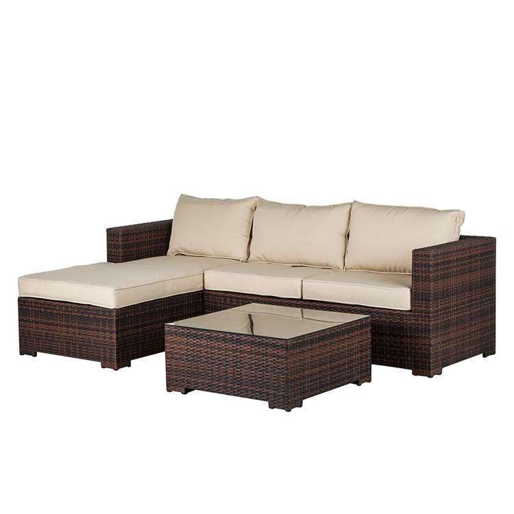 sitzgruppe set 3 teilig polyrattan braun beige gartensofa tisch couch sofa neu ebay