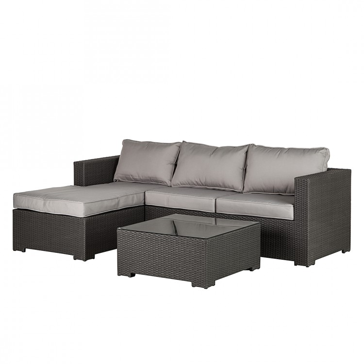 sitzgruppe set 3 teilig polyrattan grau beige garten tisch. Black Bedroom Furniture Sets. Home Design Ideas