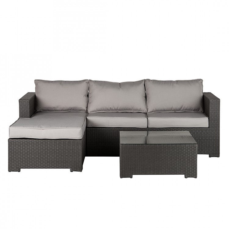 sofa set paradise lounge 3 teilig rattan stoff home24. Black Bedroom Furniture Sets. Home Design Ideas