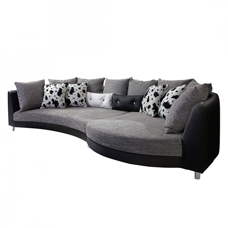 ecksofa wave kunstleder schwarz webstoff grau home24. Black Bedroom Furniture Sets. Home Design Ideas