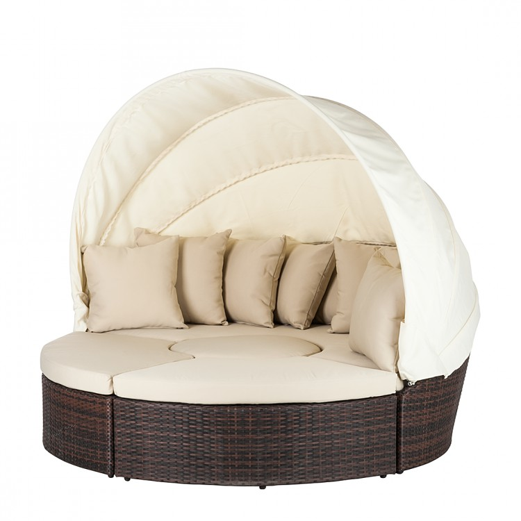 sonneninsel 4 teile polyrattan braun beige strandkorb. Black Bedroom Furniture Sets. Home Design Ideas