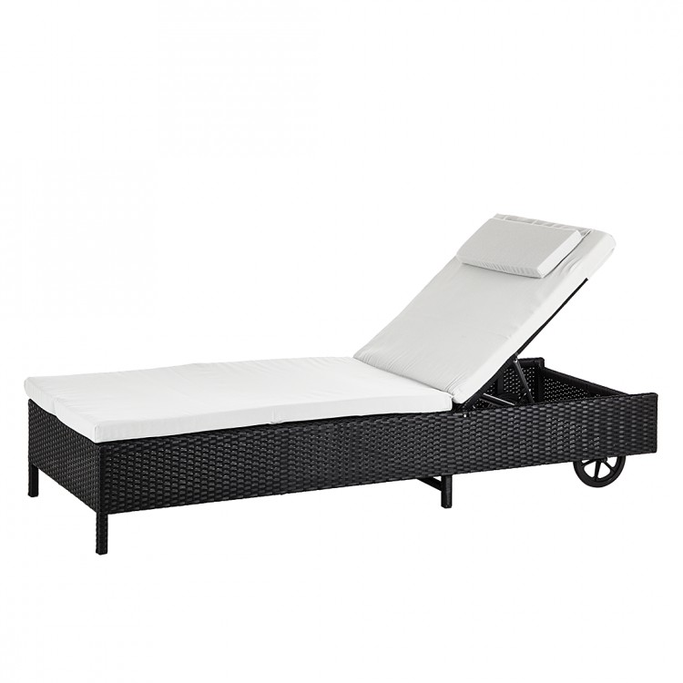 sonnenliege auflage polyrattan schwarz grau gartenliege relaxliege garten liege ebay. Black Bedroom Furniture Sets. Home Design Ideas