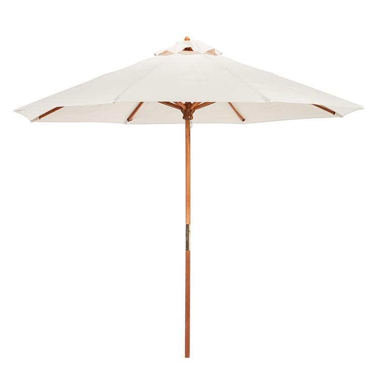 sonnenschirm beige 300cm eukalyptus holz marktschirm. Black Bedroom Furniture Sets. Home Design Ideas