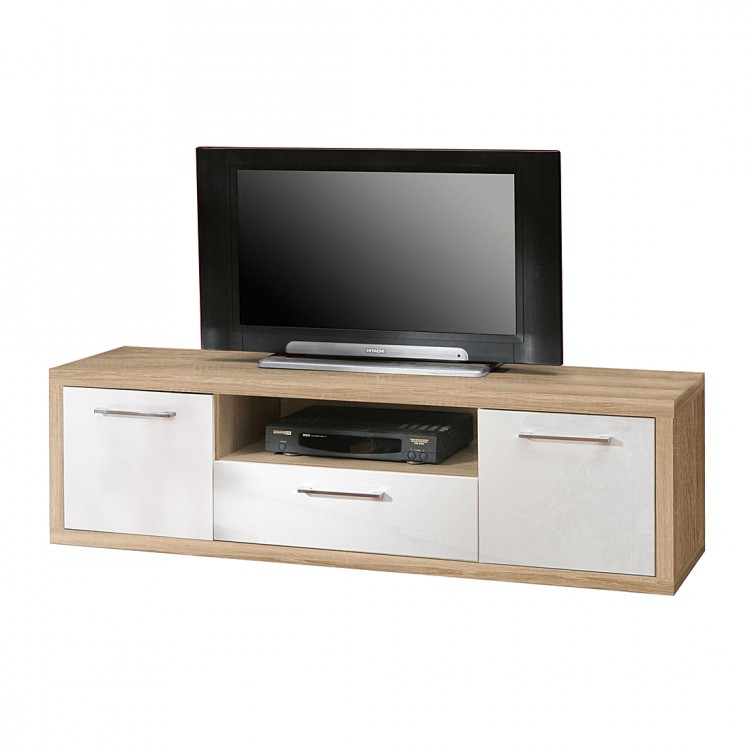 tv lowboard fresno ii sonoma eiche dekor hochglanz wei home24. Black Bedroom Furniture Sets. Home Design Ideas