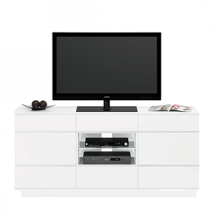 tv rack palmdale wei mit led glasblenden kaufen home24. Black Bedroom Furniture Sets. Home Design Ideas