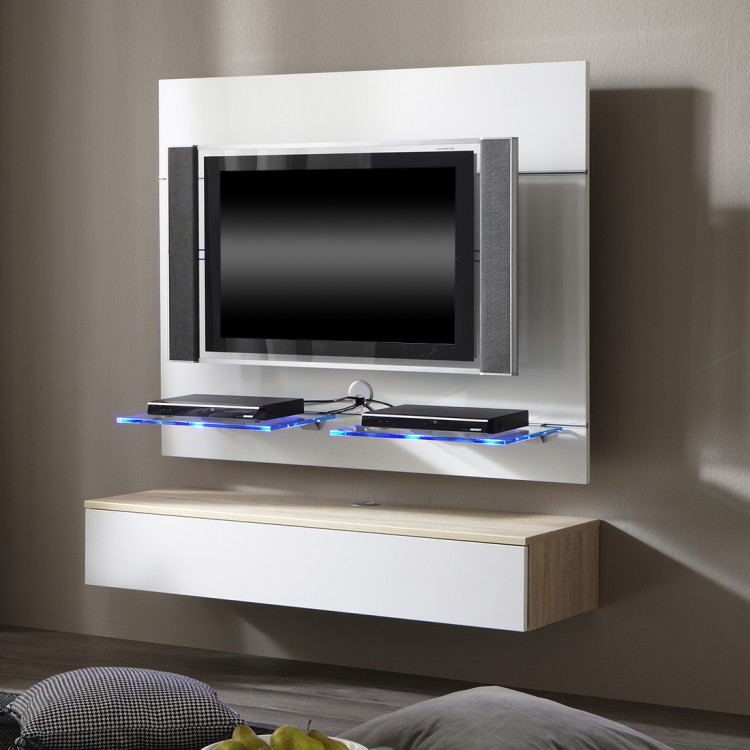 tv wand hover 4 inkl h ngemodul wei eichedekor home24. Black Bedroom Furniture Sets. Home Design Ideas