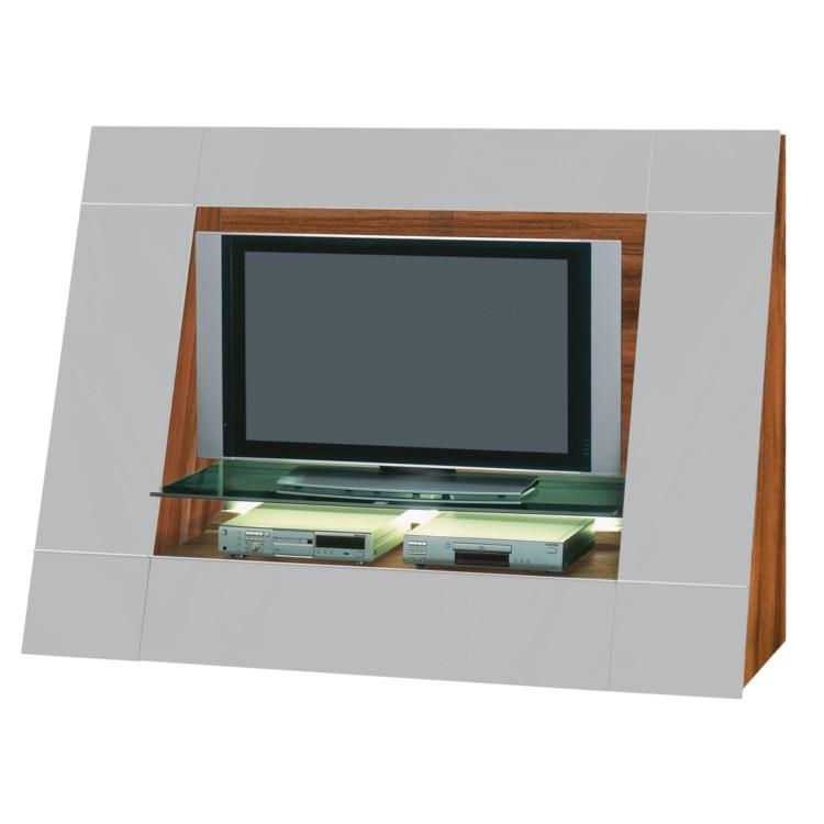 tv wand luxor 2000 sl selection hochglanz grau nussbaum home24. Black Bedroom Furniture Sets. Home Design Ideas
